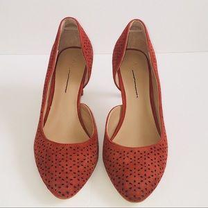 Anthropologie Perforated Suede Heels in Size 8.5